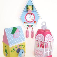 Cuckoo Clock, Bird House and Bird Cage  Printable Paper Craft