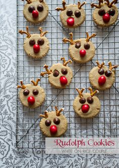 For last minute baking inspiration, these peanut butter Rudolph cookies can't be beat. Love the pretzel antlers!