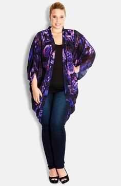 City Chic 'Rose Mirage' Kimono Jacket-- Classy look for dinner and drinks without wearing a dress.