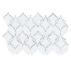 "White Thassos & Carrara Marble Ribbon Waterjet Mosaic Tile 14x17"""