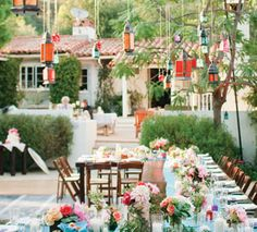 tablescape and hanging lanterns beautiful wedding, party, or event outdoors from flower magazine