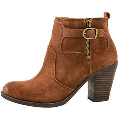 Lucky Footwear Everalda Buckle Boot (620 RON) ❤ liked on Polyvore featuring shoes, boots, ankle booties, brown, brown bootie, round toe booties, short brown boots, stacked heel ankle boots and brown boots