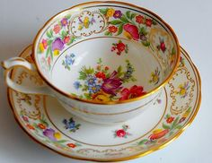 Antique Dresden Sprays Bone China England Hammersley CUP & SAUCER Flowers Gold | eBay