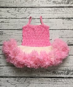 Look what I found on #zulily! Pink & Ivory Vintage Rosette Petti Dress - Toddler #zulilyfinds