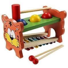 Amazon.com: Arshiner Wooden Toys Pound & Tap Bench with Slide out Xylophone: Toys & Games