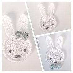Ravelry: Miffy Banner pattern by Pure Stitches Crochet Motif Patterns, Crochet Beanie Pattern, Applique Patterns, Crochet Mask, Crochet Amigurumi, Crochet Toys, Easter Crochet, Crochet For Kids, Crochet Rabbit