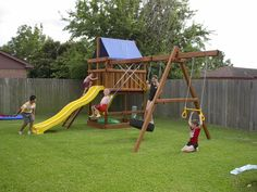 How to Build DIY Wood Fort and Swing Set Plans From Jack's Backyard. Learn how to build your own backyard wooden Triton playset with do-it-yourself swing set plans and save money. Playset Diy, Backyard Playset, Wooden Playset, Wooden Pergola, Outdoor Pergola, Diy Pergola, Pergola Swing, Pergola Plans, Pergola Ideas