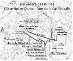 hypogée des dunes- 1) GENERALITES, a) LOCALISATION, 2: Ce toponyme de Dunes n'a rien à voir avec le sens actuel de terme, il faut le comprendre d'après le mot celte dont il dérive, c'est à dire dubes, qui signifie falaise, hauteur. Le monument se trouvait dans le voisinage de la voie romaine qui prolongeait le decamanus de la ville et qui conduisait de Poitiers à Bourges par Argenton.