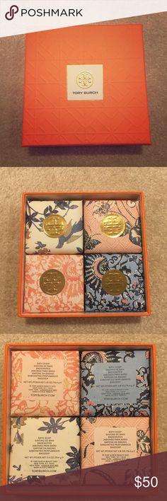 Tory Burch Soap Set Brand new Tory Burch soap set of 4 in box. 2.8oz, 79.4g each. Tory Burch Makeup