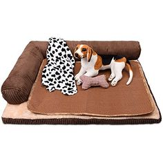 Corner dog Bed with bolster, Detachable Dog Sofa, Pet Crate Pad, Includes Blanket, Pillow,Summer Sleeping Mat