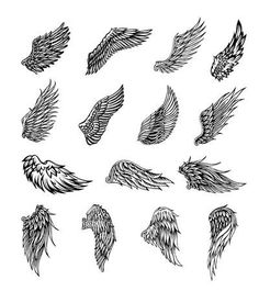 Stock vector of 'Heraldic wings set for tattoo or mascot design, vector graphic . - Stock vector of 'Heraldic wings set for tattoo or mascot design, vector graphic illustration' - Angle Wing Tattoos, Small Wing Tattoos, Wing Tattoo Men, Wing Tattoos On Back, Wing Tattoo Designs, Angel Tattoo Designs, Skull Tattoo Design, Forearm Wing Tattoo, Back Tattoos For Men