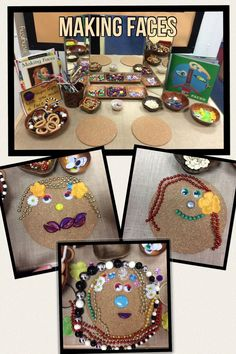 Making Faces. Loose parts in the finger gym.