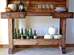I want to make this!  DIY Furniture Plan from Ana-White.com  Reminiscent of an old workbench, this rustic console table can be used as a bar or console table. Matching hutch plans also available.