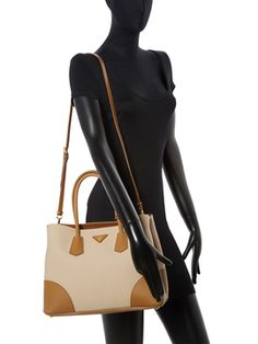 Saffiano Leather & Canvas Double Medium Tote from Go Neutral: Summer Accessories on Gilt