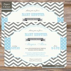 In light blue- is it too busy? Boys Baby Shower Invitation chevron stripe grey & by paperclever, $13.00
