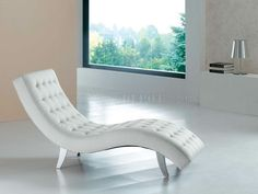 Modern Chaise Lounge Tufted White Color