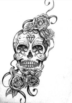 Skull 1 for bicep tattoo (needs more roses surrounding as a filler)