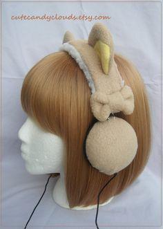 Cute soft plush fleece Rilakkuma style headphones   (made to order). $68.00, via Etsy.
