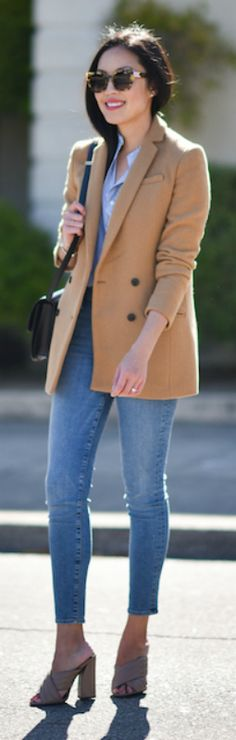 Wearing camel + gorgeous blazer + denim jeans + pair of wedges + Anh + smart casual style + perfect for everyday wear + pair of shades + fabulous look together!  Blazer: Banana Republic, Blouse: Everlane, Jeans: FRAME Denim, Bag: Celine, Heels: Gucci.