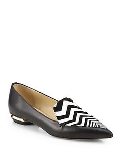 Nicholas Kirkwood - Leather Zigzag-Detail Loafers -