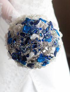 "Royal Blue Wedding brooch bouquet. Deposit - ""Blue Diamond"" White and Royal Blue wedding bouquet. Cobalt Bridal broach bouquet"