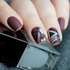 Trendy Geometric Nail Design ❤️Square nails are very pretty and nice. Try these trendy variants if you want to change your image a bit. These designs have been collected for you. Square Nail Designs, Cool Nail Designs, Cute Nails, Pretty Nails, New Nail Colors, Acrylic Nail Shapes, Acrylic Nails, Latest Nail Art, Geometric Nail