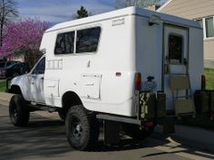1985 4×4 Turbo Diesel Toyota longbed that has been converted into a camper by removing the bed and the addition of the pop-top camper off of a 1978 Toyota Chinook