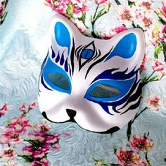 Half Face Hand Painted Japanese Style Fox Mask Kitsune Blue 3 Eyes ...