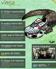 Aquí os dejamos la portada del nº6 de Vía52. El fútbol insostenible. Obra de José Vicente Montenegro 'Monti'