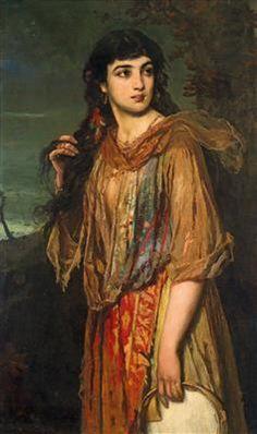 Anton Romako circle (1832-1889) Gypsy Girl with Tambourine, oil on canvas, 127 x…