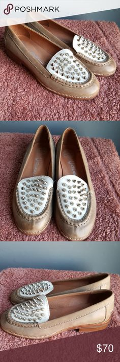 Jeffrey Campbell Ibiza Academy Silver Spike Loafer Amazing shoes!!! Leather loafers Jeffrey Campbell California Handmade Ibiza Last Silver spikes Tan and white In great condition Jeffrey Campbell Shoes Flats & Loafers