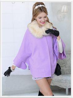 Morpheus Boutique  - Purple Trench Hair Collar Wool Designer Coat