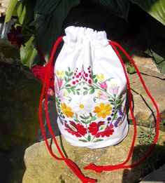 handmade bag handmade embroidery white jeans bag by embroidream, $60.00