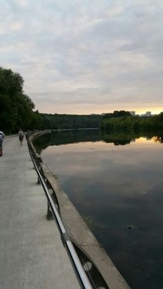 Evening walk at the bank of river Moscow
