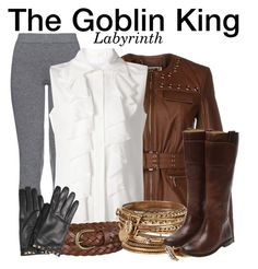 """The Goblin King - Labyrinth"" by nerd-ville ❤ liked on Polyvore featuring MICHAEL Michael Kors, MaxMara, Chloé, Uniqlo, ALDO, Frye, Valentino, women's clothing, women's fashion and women"
