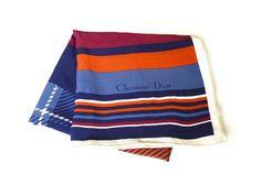 Christian Dior, Silk Scarf, Plaid Tartan, Color Block, Made in France, Designer Fashion, Vintage Accessory by zephyrvintage on Etsy