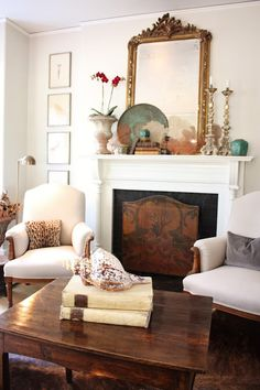 Living room's summer look with sea fans on mantel - For the Love of a House