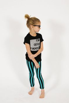 Green & Black Striped Leggings - Graphic T-Shirt