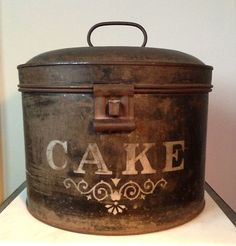 Antique Round Metal Cake Tin Pie Safe Bread Box General Store Display Americana