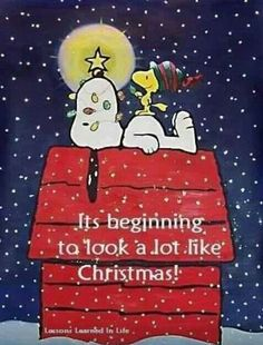 It's Beginning to Look a Lot Like Christmas - Snoopy and Woodstock on Top of Doghouse Days Until Christmas, Winter Christmas, Christmas Time, Merry Christmas, Christmas Countdown, Xmas, Christmas Music, Christmas Greetings, Charlie Brown Peanuts