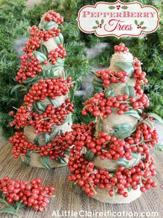 DIY Pepperberry Trees at ALittleClaireification.com #Holidays #Crafts #DIY