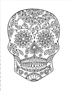 Day of the Dead Adult Coloring Page:Original Hand Drawn Art in Black and White, Image of Sugar Skull