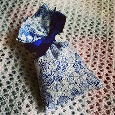 Blue and white #lavender sachet.