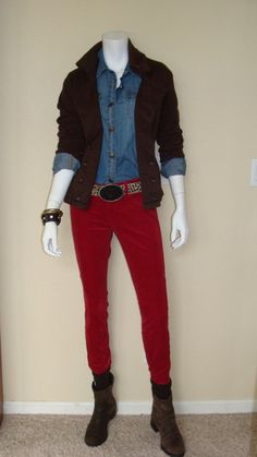 Daily Look:  CAbi Fall '12 Tavern Shirt and Crimson Cord with vintage Pine Coat and Madison Belt.