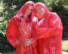 Vinyl Raincoat, Pvc Raincoat, Plastic Raincoat, Girls Wear, Women Wear, Rain Fashion, Hooded Cloak, Girls Together, Rain Wear