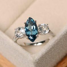 London blue topaz ring marquise cut marquise by LuoJewelry on Etsy