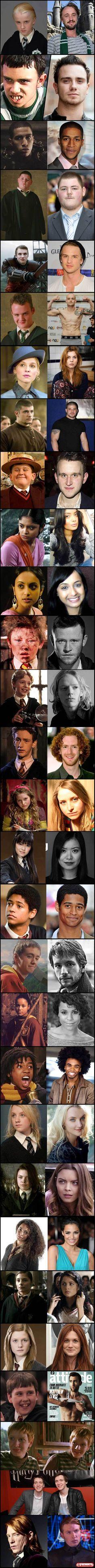 Atores da Saga Harry Potter - Antes e depois.