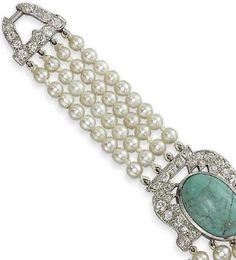Cartier's Art Deco Pearl, Diamond & Turquoise Bracelet  © Christie's