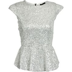 Club L Silver Sequin Peplum Top ($15) found on Polyvore featuring tops, shirts, blouses, blusas, party tops, sequin peplum top, sparkle peplum top, sequin shirt and cap sleeve peplum top