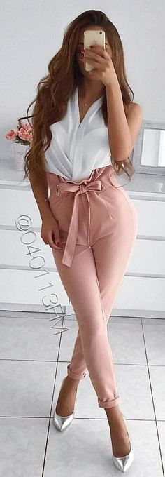 #winter #outfits pink pants and white top